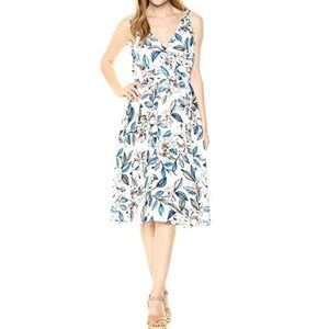 Ali & Jay white floral wrap top pleated dress